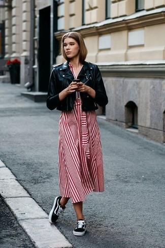 How to wear: black leather biker jacket, red vertical striped midi dress, black low top sneakers