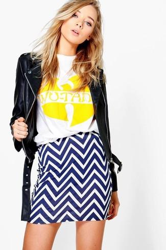 Women's Black Leather Biker Jacket, White and Yellow Print Crew-neck T-shirt, White and Blue Chevron Mini Skirt