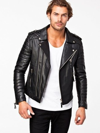 Men's Black Quilted Leather Biker Jacket, White Crew-neck T-shirt ...