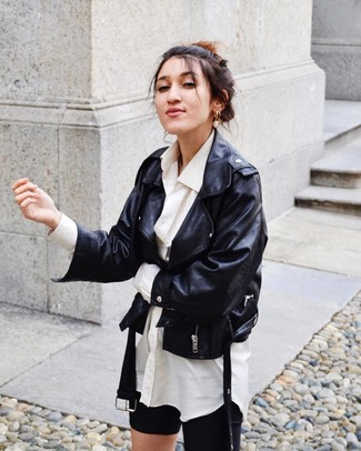 How to wear: black leather biker jacket, white dress shirt, black bike shorts