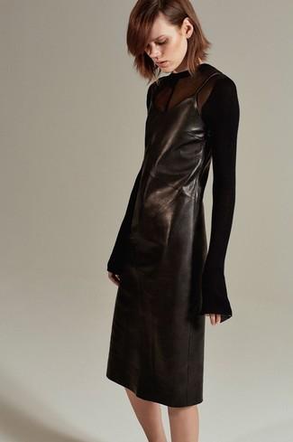 How to wear: black leather cami dress, black mesh long sleeve t-shirt