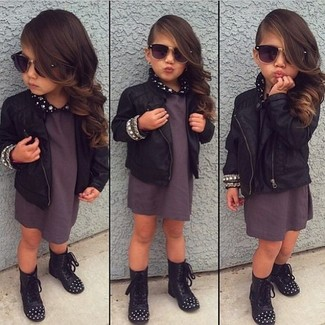 How to Wear a Black Leather Jacket For Girls: Go for a black leather jacket and charcoal dress for your little princess for a beautiful casual get-up. Black boots are a wonderful choice to complement this outfit.
