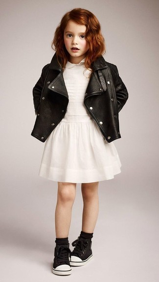 How to wear: black leather jacket, white dress, black sneakers