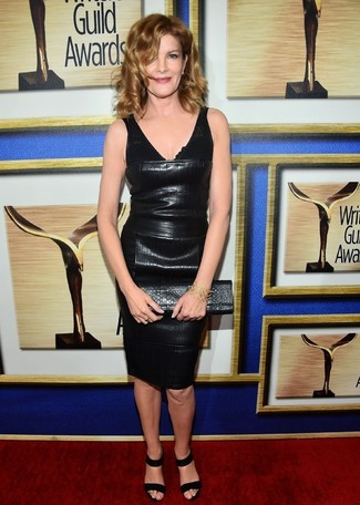 Leather Sheath Dress Outfits: Infuse style into your day-to-day collection with a leather sheath dress. Complete your outfit with a pair of black suede heeled sandals and the whole getup will come together.