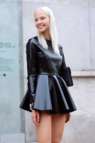 If you feel more confident in comfy clothes, you'll love this absolutely chic combination of a black leather skater dress and a black crossbody bag. And when you have one of those dull fall days, sometimes only a cool outfit like this one can brighten things up.