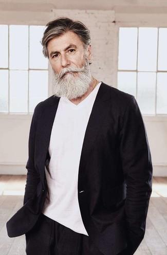 Men's Black Linen Blazer, White V-neck T-shirt, Black Linen Dress Pants