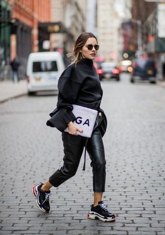 How to wear: black long sleeve blouse, black leather tapered pants, black athletic shoes