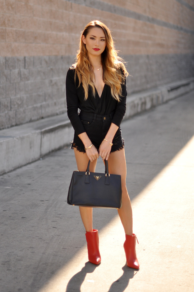 what to wear with red ankle boots