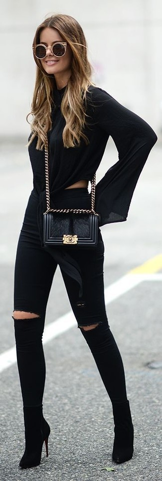 Such garments as a black long sleeve blouse and a Prada Persian Lamb Crossbody are the great way to introduce some refinement into your daily routine. Black suede ankle boots complement this outfit quite well. As days are getting cooler, you'll see that an ensemble like this is perfect for the season.