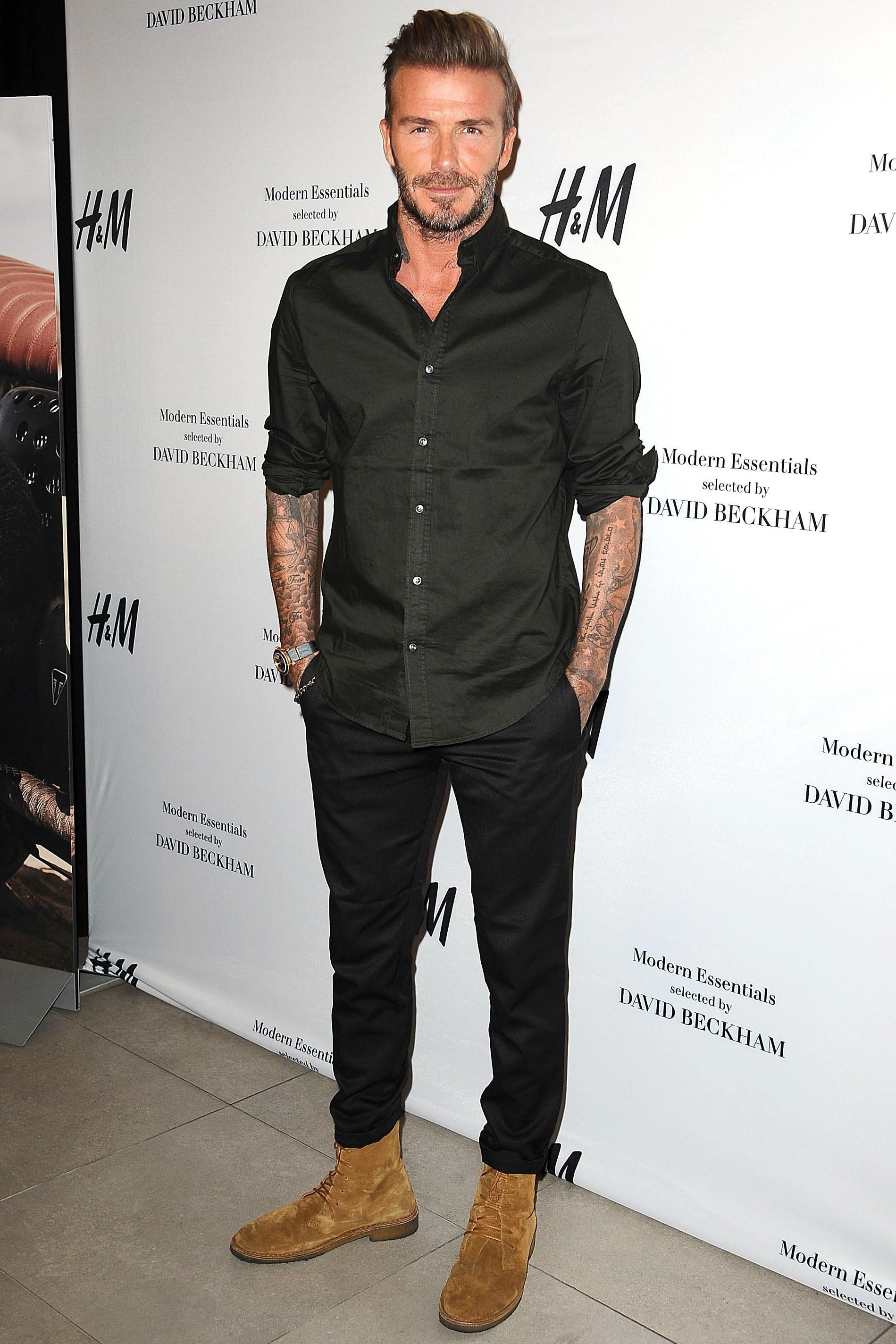 David Beckham Wearing Black Long Sleeve Shirt Black Chinos Tan