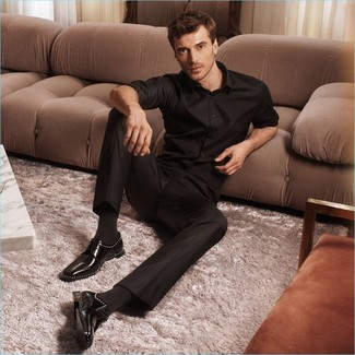 How to wear: black long sleeve shirt, black dress pants, black leather derby shoes, black socks