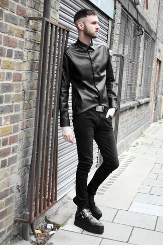 Men&39s Black Leather Long Sleeve Shirt Black Skinny Jeans Black