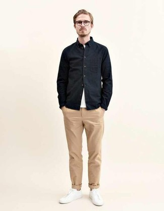 Snap Buttoned Cotton Wool Twill Shirt