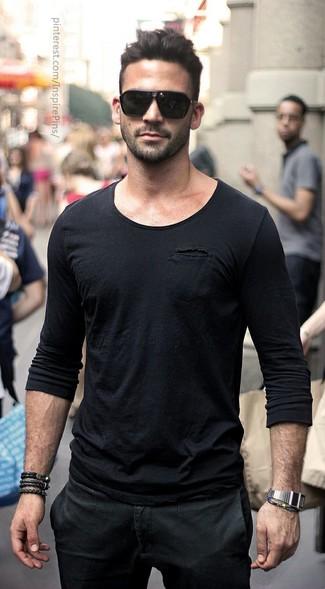 Men's Black Long Sleeve T-Shirt, Black Chinos, Black Sunglasses, Silver Watch