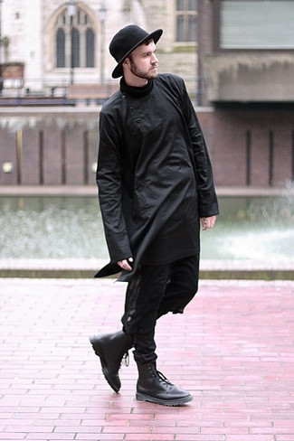 Men's Black Long Sleeve T-Shirt, Black Skinny Jeans, Black Leather Casual Boots, Black Wool Hat
