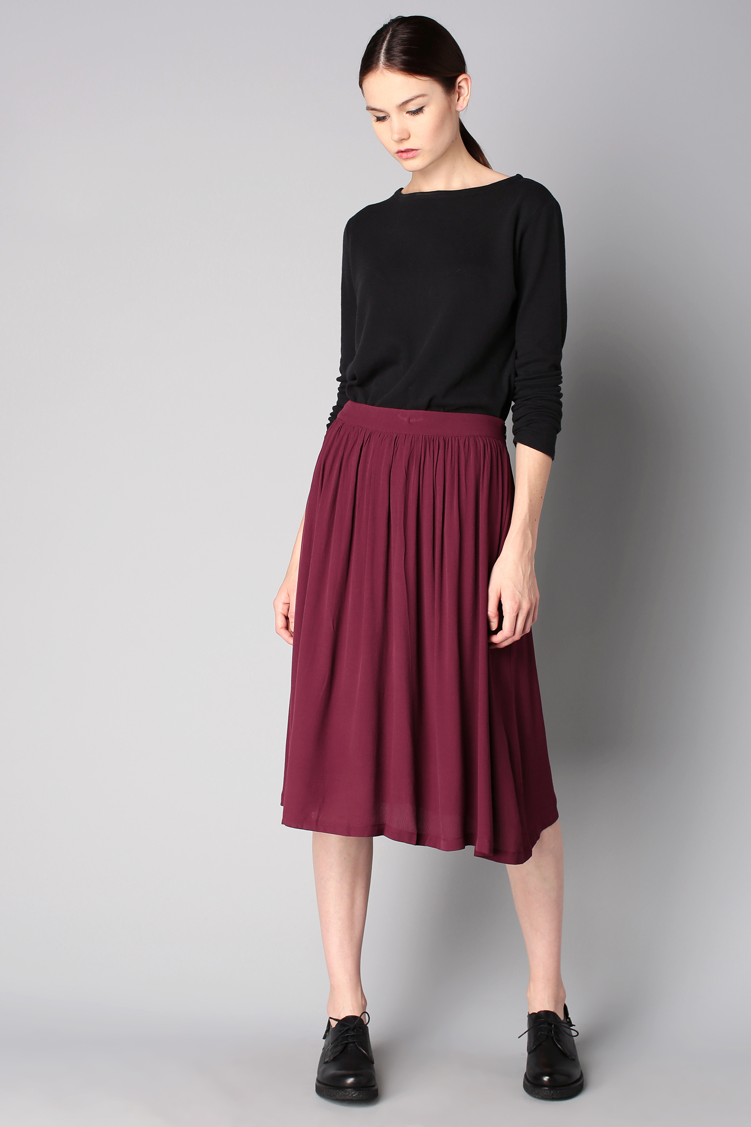 Women's Black Long Sleeve T-shirt, Burgundy Pleated Midi Skirt ...