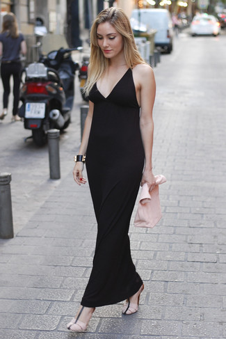 How to wear: black maxi dress, pink leather heeled sandals, pink leather clutch, black leather bracelet