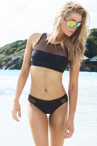 Mesh Paneled Bikini Briefs T By