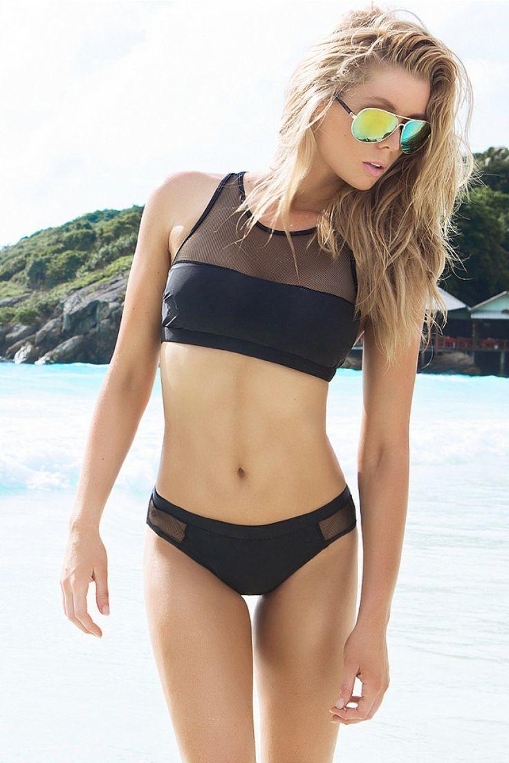 Schwarzes String Bikinioberteil