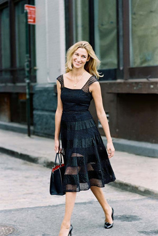 How to wear: black polka dot mesh fit and flare dress, black leather pumps, black leather tote bag