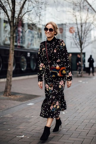 How to wear: black floral midi dress, black suede ankle boots, multi colored suede crossbody bag, black sunglasses