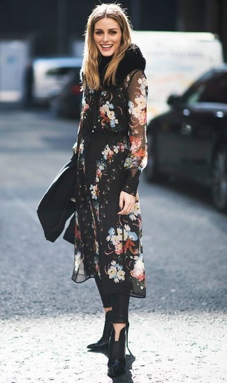How to wear: black floral chiffon midi dress, black leather leggings, black leather ankle boots, black fur scarf