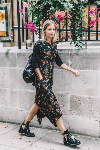 How to wear: black floral midi dress, black long sleeve t-shirt, black cutout leather ankle boots, black leather bucket bag