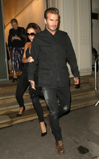 David Beckham wearing Black Military Jacket, Black Jeans, Dark Brown Leather Casual Boots