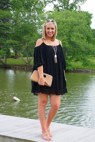 How to wear: black off shoulder dress, beige leather thong sandals, tan leather clutch, white pendant