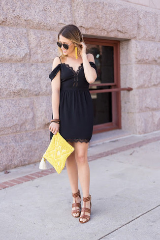 How to wear: black lace off shoulder dress, brown leather heeled sandals, yellow beaded clutch, yellow beaded earrings