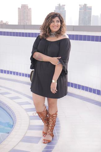 How to wear: black off shoulder dress, brown leather knee high gladiator sandals, silver embellished choker