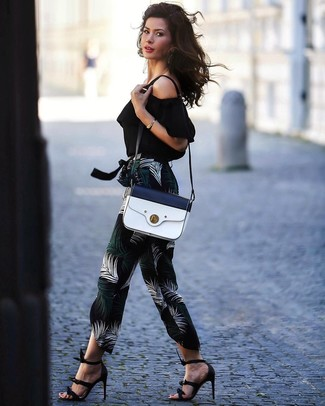 How to wear: black off shoulder top, black print tapered pants, black leather heeled sandals, white and navy leather crossbody bag