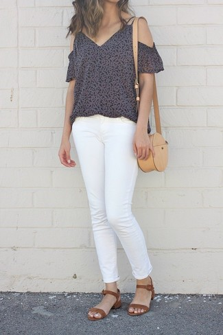 How to wear: black floral off shoulder top, white jeans, brown suede heeled sandals, tan leather crossbody bag