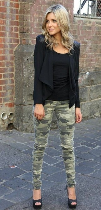 Consider teaming a black open cardigan with olive camo slim jeans and you'll look like a total babe. Take a classic approach with the footwear and grab a pair of black satin pumps.