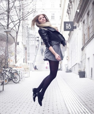 If it's comfort and practicality that you're searching for in an outfit, wear a black leather open front jacket with a grey skater dress. A pair of black suede brogues will add more polish to your overall look.  As you can see here, this look is a really nice idea, especially for summer-to-fall weather, when the mercury is dropping.