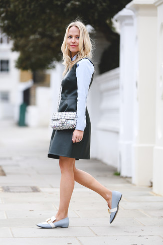 How to wear: black leather overall dress, light blue dress shirt, light blue leather loafers, white print leather crossbody bag
