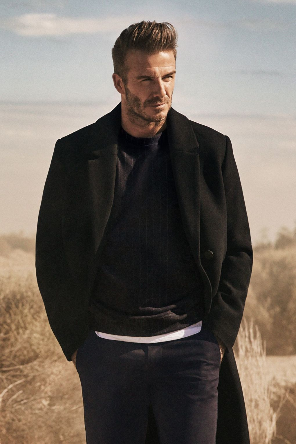 Black t shirt with suit - Nordstrom 69 Shop Navy Chinos David Beckham Wearing Black Overcoat Black Crew Neck Sweater White Crew Neck