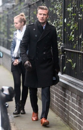 How to wear: black overcoat, black dress pants, tobacco leather oxford shoes, dark brown leather gloves