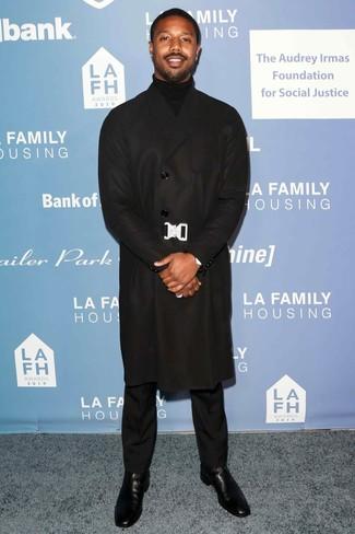 Michael B. Jordan wearing Black Overcoat, Black Turtleneck, Black Dress Pants, Black Leather Chelsea Boots