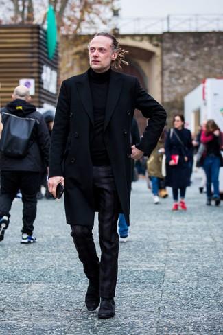 How to wear: black overcoat, black turtleneck, black plaid dress pants, black suede chelsea boots
