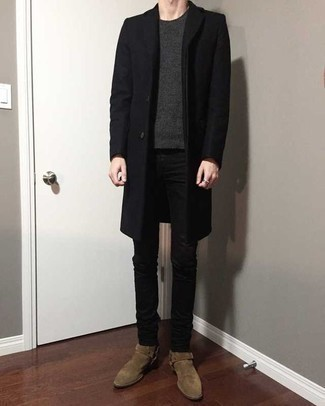 Black Skinny Jeans Outfits For Men: A black overcoat and black skinny jeans matched together are a perfect match. A trendy pair of tan suede chelsea boots is an effortless way to inject an extra dose of style into your look.