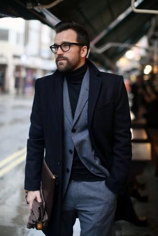 db462f889831 How to wear: black overcoat, grey check wool suit, black turtleneck, dark