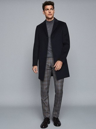 How to Wear a Grey Turtleneck For Men: A grey turtleneck looks so great when combined with grey plaid chinos. For maximum fashion effect, complete this look with black leather derby shoes.
