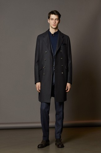 How to wear: black overcoat, navy check suit, navy mock-neck sweater, dark brown leather monks