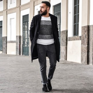 How to wear: black overcoat, white and black horizontal striped crew-neck sweater, charcoal jeans, black suede chelsea boots