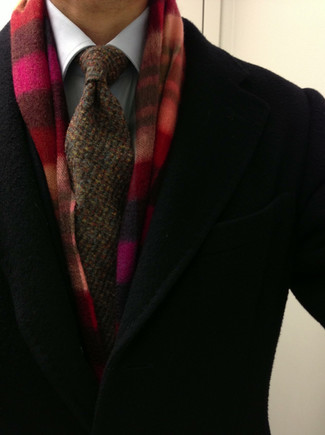 How to wear: black overcoat, white dress shirt, brown knit tie, red plaid scarf