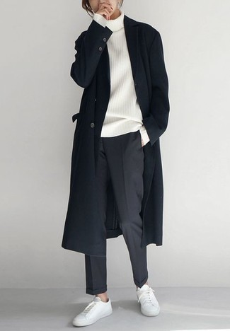 Charcoal Chinos Outfits: You'll be surprised at how easy it is for any gentleman to get dressed this way. Just a black overcoat and charcoal chinos. Go ahead and add white leather low top sneakers to the mix for an element of stylish effortlessness.