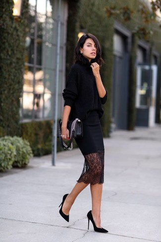 Women's Black Oversized Sweater, Black Lace Pencil Skirt, Black ...