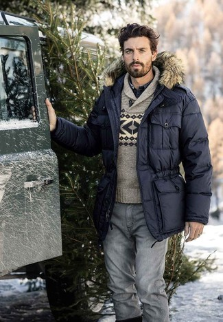 How to wear: black parka, grey fair isle shawl-neck sweater, navy denim shirt, grey jeans