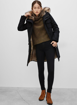 To create an outfit for lunch with friends at the weekend choose a Barneys New York Faux Fur Trimmed Tech Fabric Parka and black skinny jeans. A pair of brown suede chelsea boots fits right in here. As the mercury lowers, you'll discover that an outfit like this is great for the season.